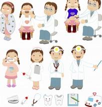 卡通人物 男女牙医和看病刷牙的女孩