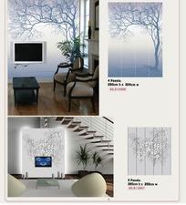壁纸图案-长往一边的树木