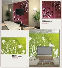 壁纸图案-卷曲草叶和花朵