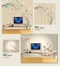 壁纸图案-卷曲枝条上的彩色花朵