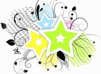插画花纹边框—圆点前的黑色枝条和五角星边框