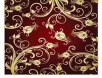黑红渐变背景上的金色花纹EPS矢量文件