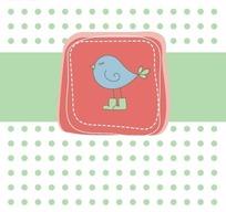 手绘绿色圆点背景上的矩形条和边框里的蓝色小鸟