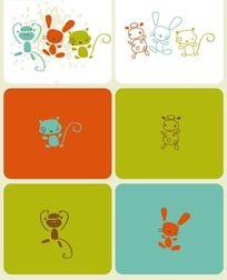 手绘线条猴子兔子和猫的剪影