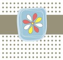 手绘圆点背景上的矩形条和边框里的花朵