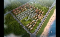 现代化居住区绿化景观鸟瞰图效果图