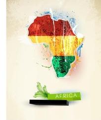 红黄绿条纹非洲地图