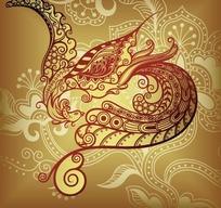 精美插画花纹构成的凤凰