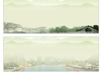 水墨桂林山水门头喷绘