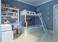 现代蓝色调儿童卧室效果图