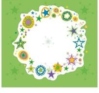 白色边框内侧的五角星和圆环插画