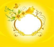 橙色渐变边框周围的五角星和花朵蝴蝶枝条以及绿叶插画
