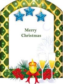 拱门边框和五角星杯子红果子和蜡烛插画