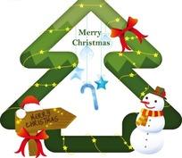 绿色圣诞树边框和指示牌和雪人插画