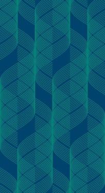 墨绿色背景上的翠绿色波浪曲线构成的图案图片