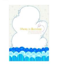 蓝色云朵边框波浪纹矢量背景