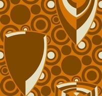 艺术插画背景 古典圆形波点上的亮丽盾牌