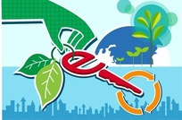 环保插画—地球前的绿树和拿着e形钥匙的手