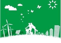 环保插画绿色天空的太阳云朵和自行车的男女剪影