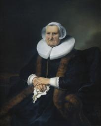 绘画作品-戴着白色帽子拿着手帕的老妇人