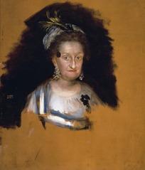 绘画作品-黑色背景前一位白衣老妇人