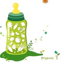 卡通插画绿色奶瓶里的农家蔬果图标