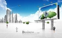 蓝天下的城市与巨型广告牌PSD分层文件