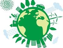 绿色地球表面的风力发电机和绿树汽车房屋插画