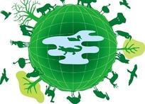 绿色球体表面的绿树和动物插画