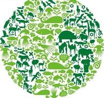 鸟类鱼类动物构成的绿色圆形插画