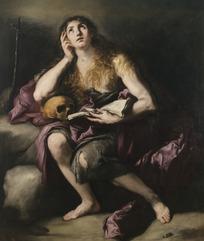 人物油画——拿着书本抬头思考问题的女子