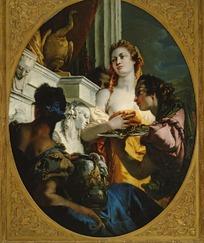 人物油画-袒胸露乳的女士和抱着坛子的男人
