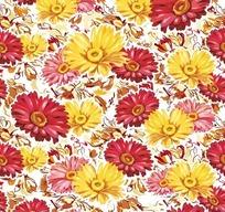 植物底纹—黄色和红色非洲菊构成的图案
