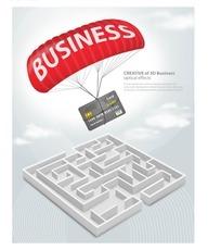插画插图立体迷宫上降落伞中的银行卡