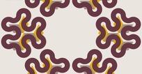 淡紫色背景上六角花朵图形构成的图案