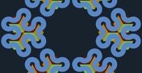 墨兰色背景上六角花朵图形构成的图案