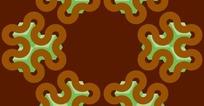 棕红色背景上六角花朵图形构成的图案