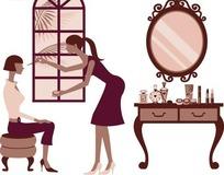 插画―化妆台和帮美女化妆的长发美女
