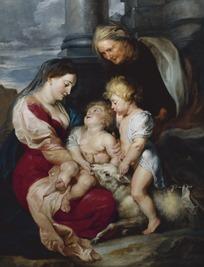 绘画作品-抱着孩子的母亲和老妇人
