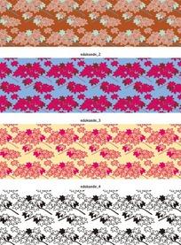 矢量底纹插图四款古典的枫树叶横幅