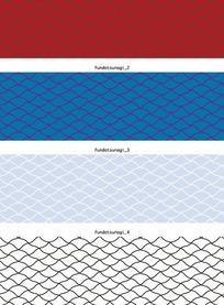 矢量底纹插图四款古典的网纹鱼鳞横幅