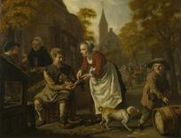 绘画作品-修鞋匠和拿着鞋的妇人和小狗