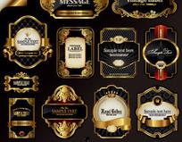 欧式金色边框瓶贴标签