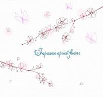 花卉插画手绘蝴蝶飞舞的日本樱花