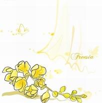 花卉插画手绘纱帐蝴蝶下的黄色小苍兰