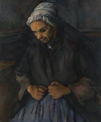 绘画作品-戴着白色帽子的老妇人