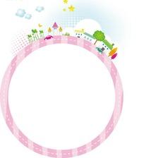 卡通边框—装饰着绿树房屋和云朵五角星的粉色边框