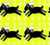 奔跑的黑色小山羊底纹背景设计
