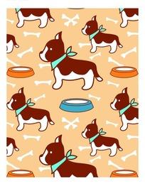 狗盆和可爱的狗构成的图案