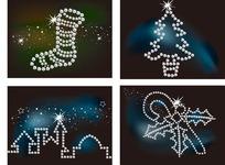 钻石珠子插画亮丽的袜子圣诞树楼房和拐杖糖